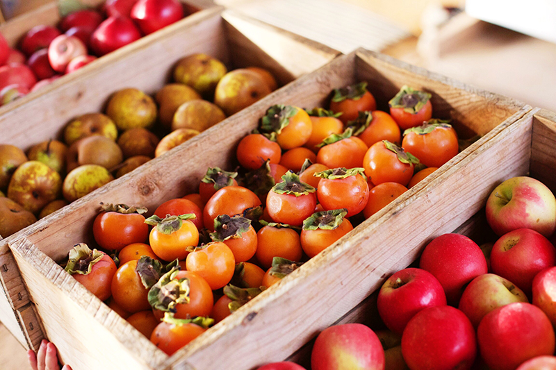 Organic apples and persimmons